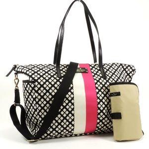 Kate Spade Black & White Diaper Bag & Changing Mat